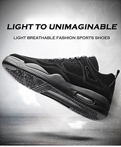 KRIMUS Herren Walking Sneakers Luftpolster Schuhe Atmungsaktive Laufschuhe von Schwarz