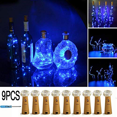 LXS Bottle Lights Battery Powered,10 LED Silvery Copper Wire Wine Lights,Mini Cork Lights String for DIY Christmas Party Wedding Centerpiece or Table Decoration,9 Pack(Blue)