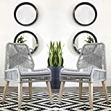 A Line Furniture Nature Hand Crafted Design Grey Woven Rope and Mango Wood Dining Chairs (Set of 2)