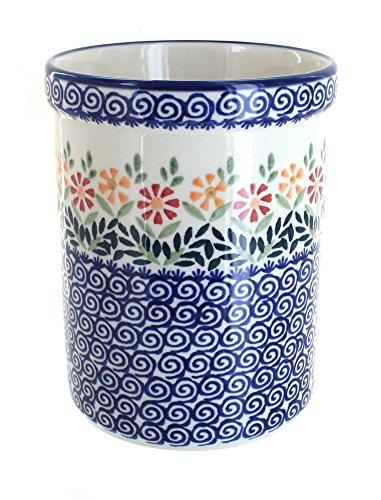 Blue Rose Polish Pottery Garden Bouquet Utensil Jar