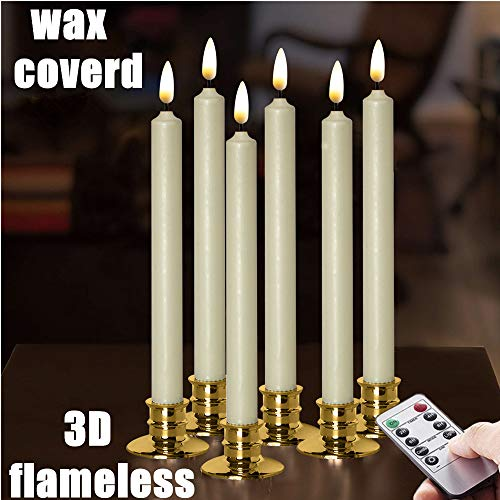 NONNO&ZGF 10 inch Flameless Battery Powered Ivory Wax Taper Windows Candles with Remote and Timer & Candlestick, Warm White Flickering Light LED, Gold candlesticks Set of 6 ...