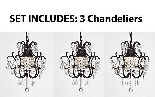 CHANDELIERS WROUGHT IRON CRYSTAL CHANDELIER ISLAND PENDANT LIGHTING H14″ W11″ **SET OF 3***