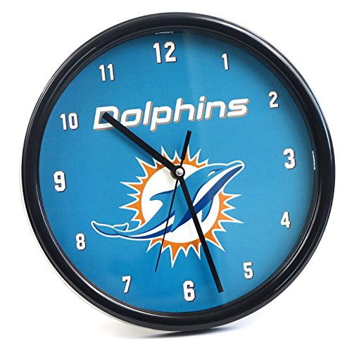 Miami Dolphins large wall Clock. Ideal for Family room, Man cave or Office decor. Wonderful gift for dad on Father's Day. ()