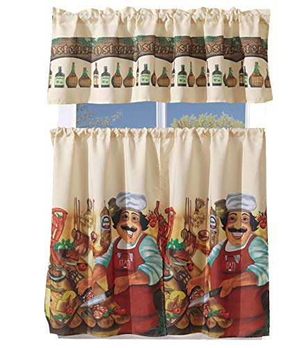 MarCielo 3 Piece Printed Floral Kitchen/Cafe Curtain with Swag and Tier Window Curtain Set, Tuscany Chef ()