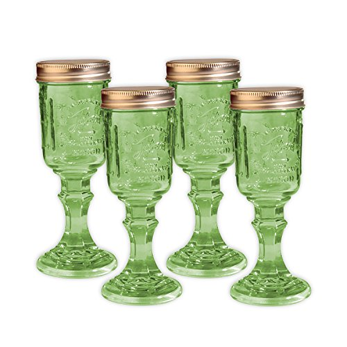 Toland Home Garden Mason Jar 8 oz Wine Glass (Set of 4), Green, 1/2 pint]()
