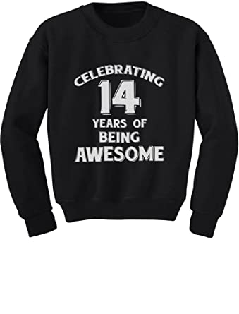 Amazon Tstars 14 Years Of Being Awesome Birthday Gift For Year Old Youth Kids Sweatshirt Clothing