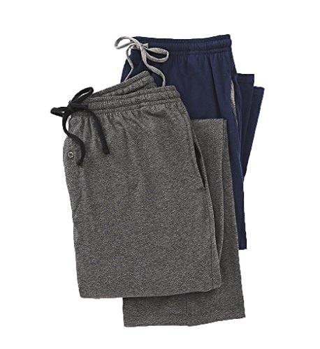 Hanes Men's Solid Knit Jersey Pajama Pant (Pack Of Two Pairs), Navy/Grey, - Pants Navy Knit