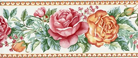 Wallpaper Border Country French Floral Red, Orange & Green on White (Wallpaper Country)