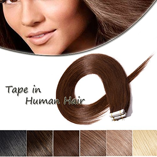 16inch 20pcs 50g Remy Tape In Hair Extensions Human Hair Medium Brown #4 Long Straight Skin Weft Hair Invisible Double Sided Tape +10pcs Replacement Tapes