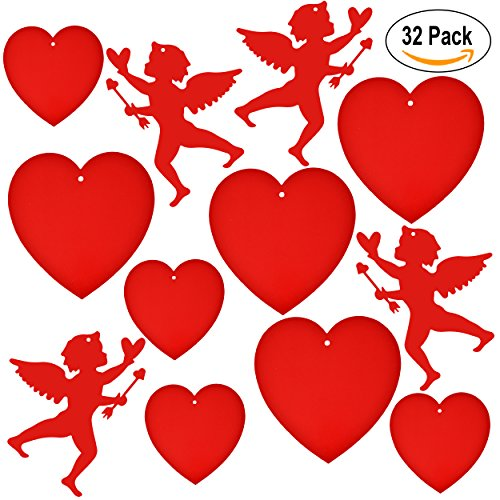Valentine Cutouts 32 Pack Red Cupids and Hearts Paper Cutouts Party Decoration Accessories by Gift - Out Arrow Cut