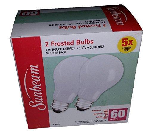 - Sunbeam 60 Watt 2 Bulb Pack A19 Rough Service 5000 Hours Medium Base Incandescent Lightbulbs
