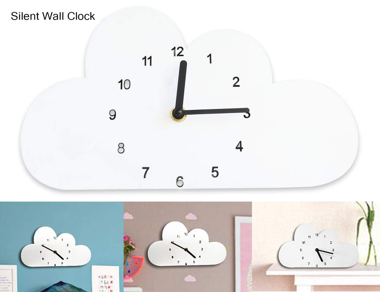 globlepanda Silent Non Ticking Wall Clock Decorative Cloud Shaped Wooden Clock Battery Operated Wall Clocks for Baby Girls Bedroom Decor Nursery Home Decorations Kids Child Birthday Gifts White