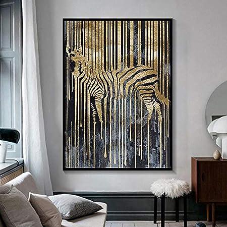 zhuziji DIY Pintar por números Decoración de la Sala de Estar nórdico Abstracto Cebra Oro Amarillo y Negro y HD Animal Pared Arte Pintura Cuadros modernos40x50cm(Sin Marco)