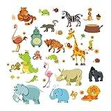 AWAKINK Jungle Wild Animal Monkeyn Lion Giraffe Elephant Dinosaur Zebra Wall Stickers Wall Decal Vinyl Removable Art Wall Decals for Girls and Boys Nursery Room Children's Bedroom