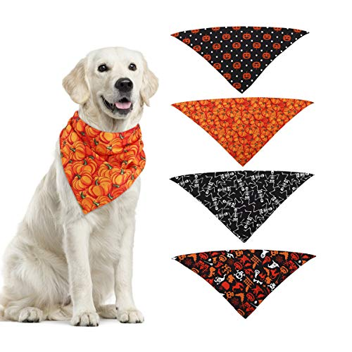 Skeleton Bandana Halloween (Vavopaw Pet Bandanas, 4 PCS Halloween Dog Cat Triangle Scarf Set with 4 Patterns Pumpkin Bat Handkerchiefs Bibs for Cat Dog Puppy)