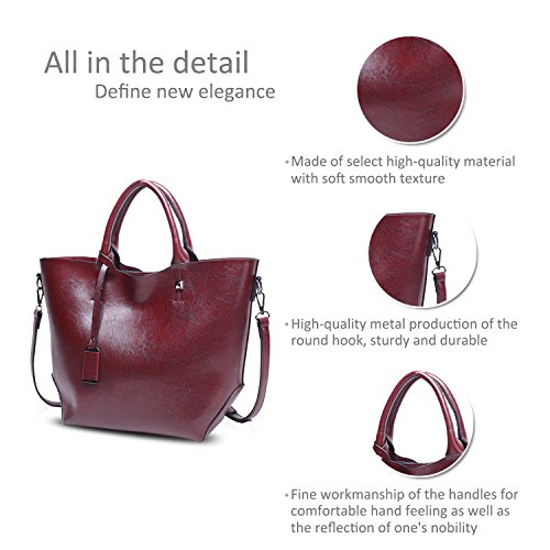 Red Red Shoulder Nicole Tote Women Dark Dark Bag Handbag Waterproof PU Large Bag Leather Bucket Messenger amp;Doris Fashion HT0qHZ