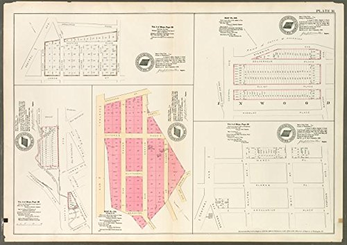 Historic 1888 Map | Plate 36: Vol. 3 of Maps, Page 30 [Bounded by Central Ave., Arcu | Antique Vintage Map Reproduction