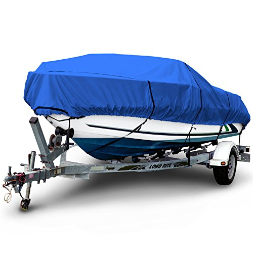 Budge 600 Denier Boat Cover fits V-Hull Runabout Boats B-600-X8 (24' to 26' Long, Blue)