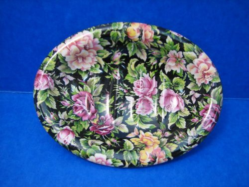 Chintz Roses Soap Dish - Crownford - Black Transferware