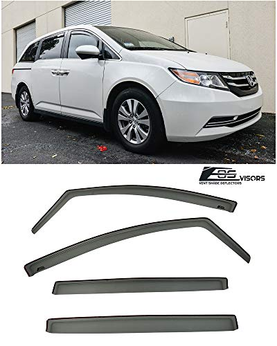 Extreme Online Store Replacement for 2011-2017 Honda Odyssey | EOS Visors JDM in-Channel Style Smoke Tinted Side Vents Window Deflectors Rain Guard