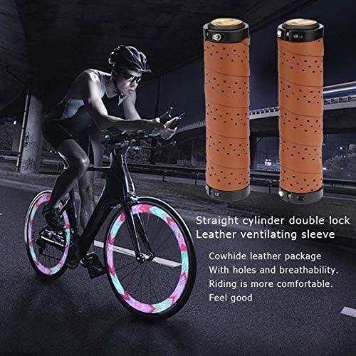 自転車ハンドルグリップアクセサリー 通気穴自転車グリップレザーアンチスキッドMTBバイクアクセサリーと新1Pairサイクリングハンドルカバースリーブグリップ