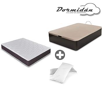 Dormidán - Pack de canapé abatible de Gran Capacidad + colchón viscoelástico + Almohada visco Copos de Regalo (105_x_190_cm, Wengué): Amazon.es: Hogar