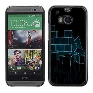 TopCaseStore / la caja del caucho duro de la cubierta de protección de la piel - Abstract Neon Blue Bricks - HTC One M8