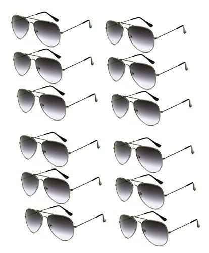 WODISON Wholesale Vintage Reflective Mirror Lens Metal Frame Aviator Party Sunglasses Bulk Lot Glasses 12 Pack