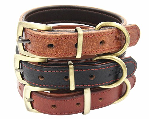 - Moonpet Soft Padded Real Genuine Leather Dog Collar - Best Full Grain Heavy Duty Dog Collar - Durable Strong Adjustable for Small Medium Large X-Large Male Female Dogs Training-Light Brown,12.4-16.4''