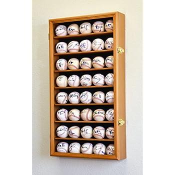 Image of 40 Baseball Display Case Cabinet Holder Wall Rack w/ UV Protection -Oak