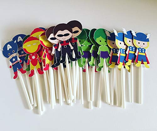 Superheroes Cupcake Toppers set of 12 pcs - Comic Picks Birthday Decoration Party Supplies, Baby Shower Themed ()