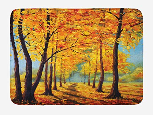 (Weeosazg Country Bath Mat, Painting of a Park in Autumn Fall with Pale Golden Leaves Harmony Nature Print, Plush Bathroom Decor Mat with Non Slip Backing, 31.5 X 19.7 Inches,)