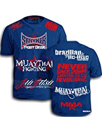 Mmacustoms Stryker Signature Walk Out Shirt Never Tapout (3XL, Royal Blue / Red White Logo)