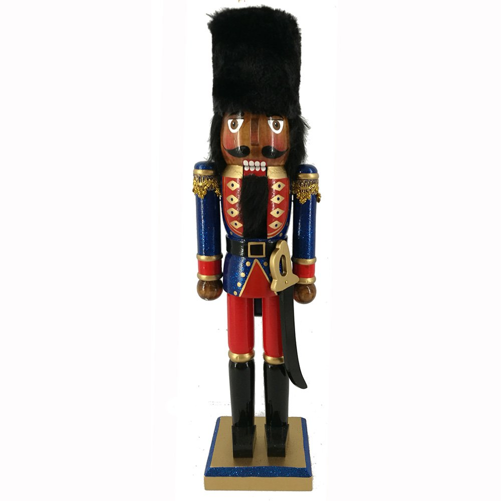 Christmas Holiday Wooden Ethnic Nutcracker Figure Soldier with Traditional Blue and Red Uniform Jacket with Sword and Fur Hat, Gold Tassel Details Large, 15 Inch