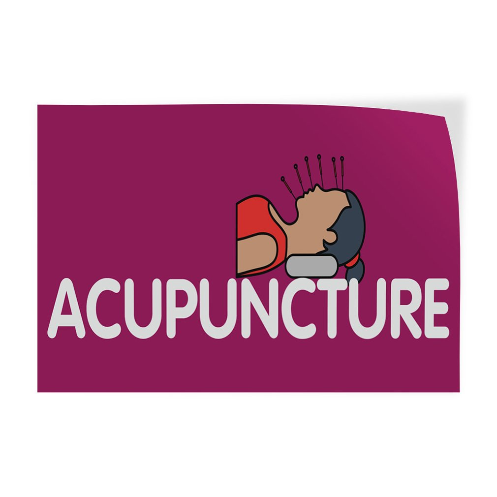 Set of 2 54inx36in Decal Sticker Multiple Sizes Acupuncture #1 Health Care Acupuncture Outdoor Store Sign Pink