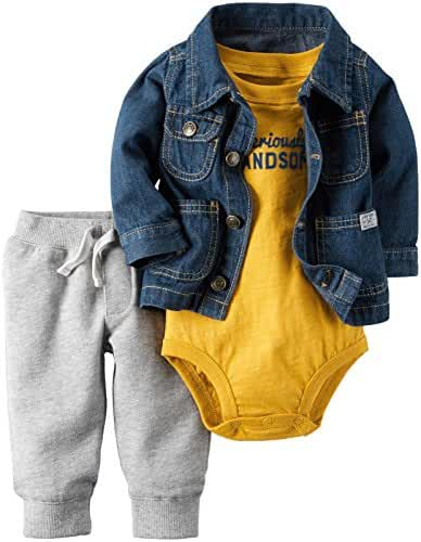 Carter's Baby Boys 3 Pc Sets, Denim, 6 Months