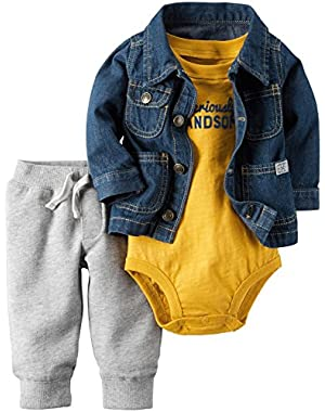 Carter's Baby Boys 3 Pc Sets, Denim, 12 Months