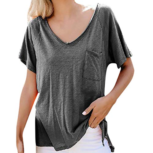 Tee Creeper - Amlaiworld Women Plus Size Tee Shirt Casual Tops Solid Color V-Neck Pocket Short Sleeve T-Shirt Blouse Summer Lightwear Shirt Gray