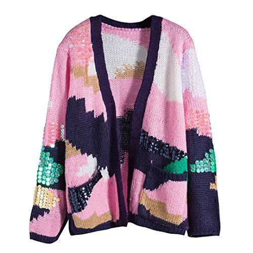 QINJLI Knit Cardigan, Loose Color Sequins Long Sleeve V-Neck Women's Jacket