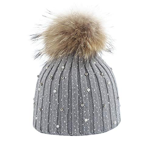 Warm Knit Hat,Crytech Women Winter Pearl Beaded Wool Knitted Cable Beanie Cap with Raccoon Hair Pom Pom Fashion Soft Stretch Advanced Knitting Skull Snow Ski Hat for Girls Outdoor Keep Warm (Gray)