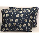 """A set of 2 12"""" by 16"""" Provence Blue and Cream Floral Pattern Made in the USA Designer Throw Pillows and forms"""