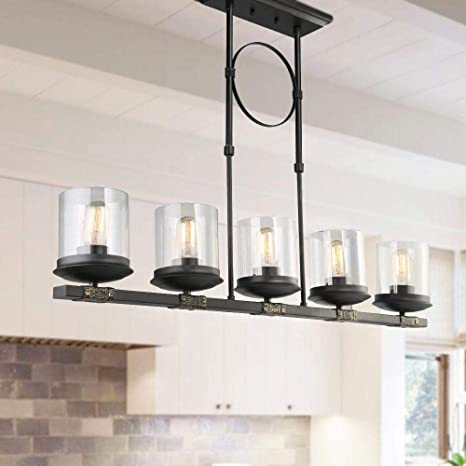 LNC Pendant Lighting for Kitchen Island Farmhouse Chandeliers with Clear  Glass Shade and Black Finish, A03199