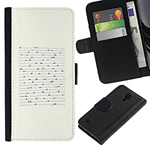iBinBang / Flip Funda de Cuero Case Cover - Las olas del mar Carta escrita a mano bote blanco - Samsung Galaxy S4 IV I9500