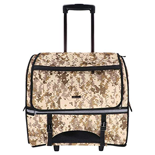 Rollup Pet Carrier (Petera Pet Carrier, Pet Rolling Carrier Back Pack Airline Approved Dog Cat Wheel Around Luggage Bag with Detachable Roller System (Camouflage))