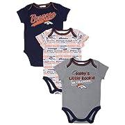 Gerber Denver Broncos Infant 3-piece Bodysuit Creeper Set Size 0-3 Months