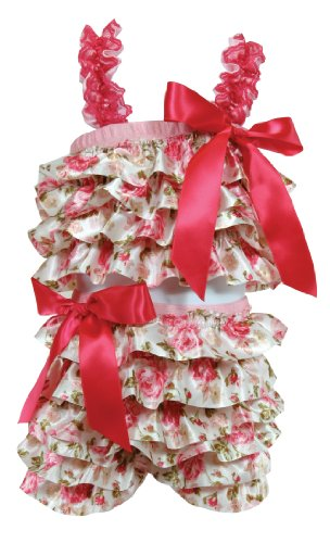 Stephan Baby Ruffled Flapper Top and Diaper Cover, Pink Roses, 6-12 Months -