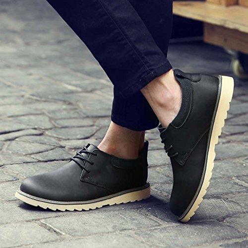 ZXCV Zapatos al aire libre Hombres zapatos de negocios casual zapatos de cuero transpirable de cuero antideslizante zapatos planos de la serie Negro