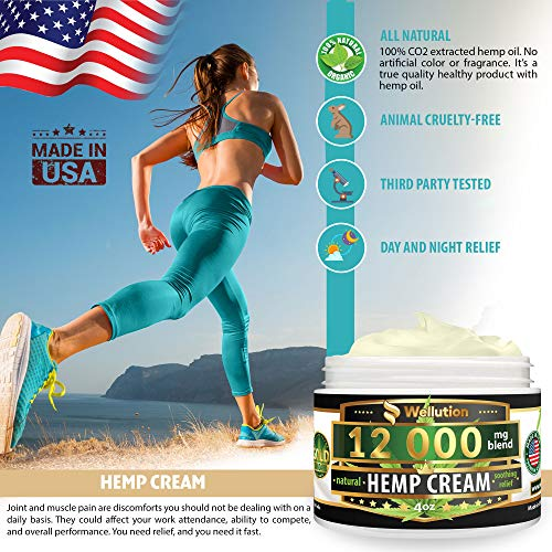 51JlCe2LKQL - Hemp Cream - 12000 mg / 4 oz - Natural Seed Oil Extract for Knee, Lower Back, Foot, Muscle, Wrist and Joint Pain Relief - Extra Strength Massage Lotion with Arnica, Menthol and Organic Oils