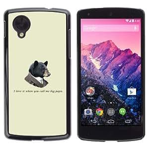 YOYOSHOP [Funny Hipster Big Papa Bear] LG Google Nexus 5 Case