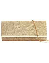 Womens Evening Clutch Bag Wedding Purse Bridal Prom Handbag Party Bag Hard Case with Detachable Chain